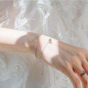 NEW 925 Sterling Silver Diamond Cube Bar Bracelet